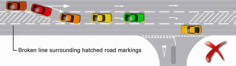 Using hatched road markings incorrectly