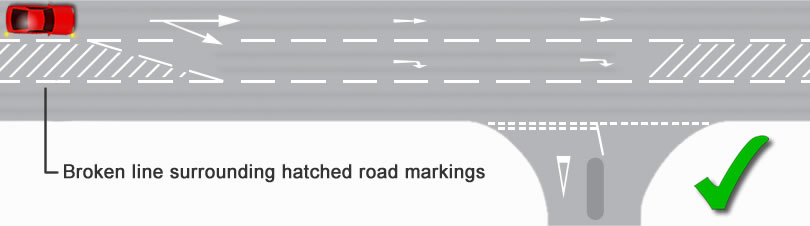 Hatched road markings