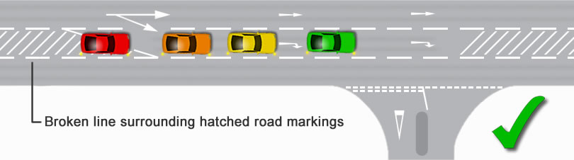 Hatched road marking correct method