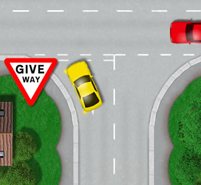 Correct position at junction line for turning left