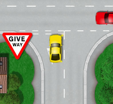 Correct position at junction line for turning right