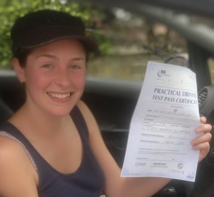 Test candidate passing driving test