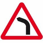 Left hand bend road sign