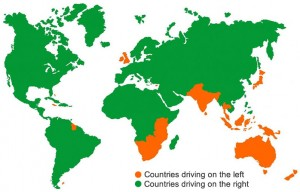 Left hand drive countries map