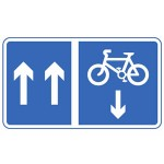 Mandatory contra-flow pedal cycle lane road sign