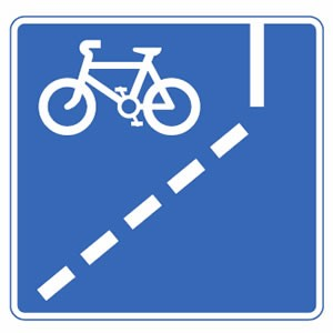Mandatory with flow of traffic pedal cycle lane ahead road sign