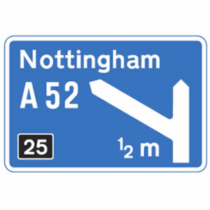 Motorway exit road sign
