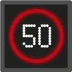 Advisory motorway speed limit sign / signal