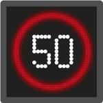Advisory motorway speed limit sign / signal