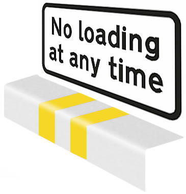 No loading at any time sign and road markings