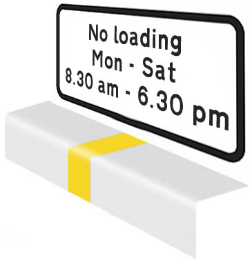 No loading during times shown markings and road sign
