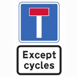 No through road for vehicles except for pedal cycles sign.