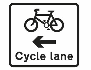 Cycle lane on road at junction ahead sign