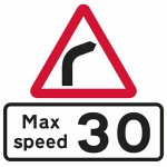 Bend in road to the right sign with advisory speed limit sign plate