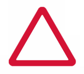 Red triangular road sign