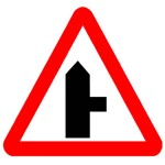 Right turn junction ahead warning sign
