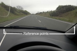 Driving on the left road positioning reference points