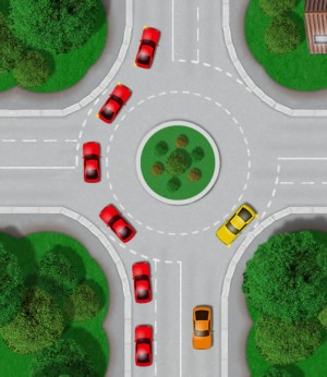 Straight at roundabout
