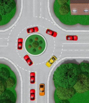 UK roundabout turning right