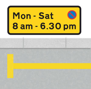 Single yellow line parking time sign