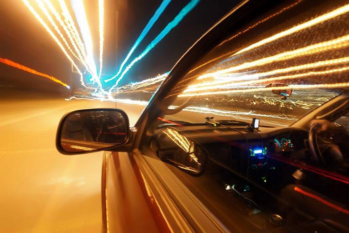 Speeding in a car