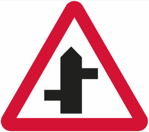 Staggered junction / crossroads sign