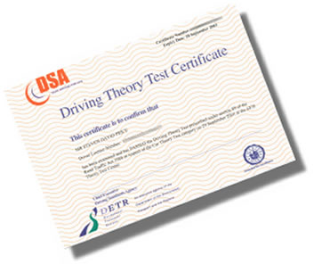 Theory test certificate