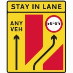 Temporary road works sign with regulatory sign