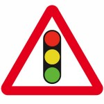 Traffic lights ahead sign
