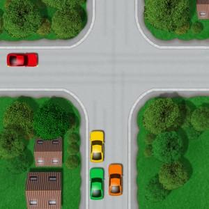 Unmarked crossroad junction