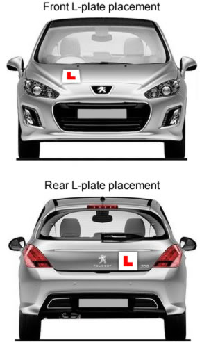 Where to put L plates