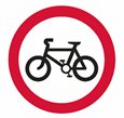Riding of pedal cycles prohibited theory test road sign