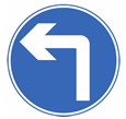 Turn left ahead sign for theory test quiz
