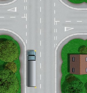 Long vehicle turning right theory test question