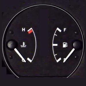 Car temperature and fuel gauge