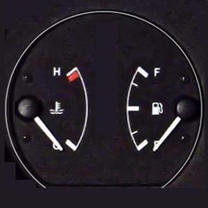 Car temperature and fuel gauge