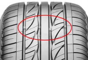 Tyre tread depth bars, or markers at 1.6mm in depth