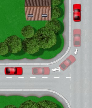 Taxi test reverse left into junction manoeuvre