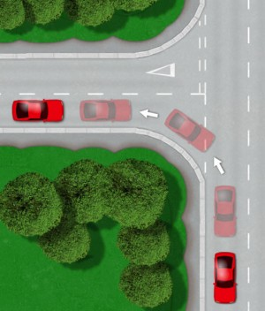 Taxi test reverse right into junction manoeuvre