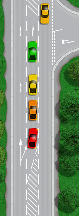 Driving in the hatched area