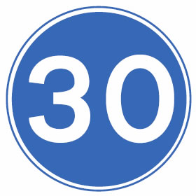 Minimum speed limit 30mph sign