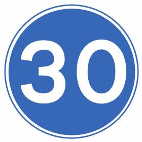Minimum speed limit 30mph sign