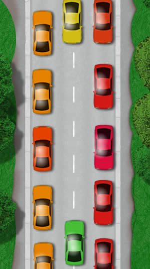 Parked cars on both sides of the road