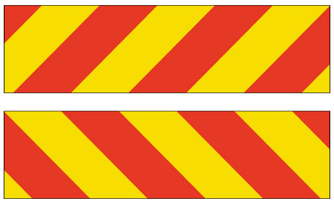Red and yellow hazard warning markers