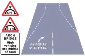 Arched bridge road markings