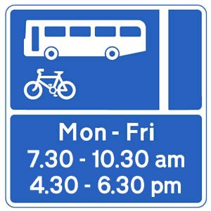 Bus lane sign displaying times of operation