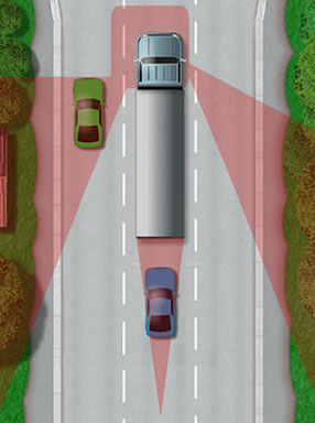 Large vehicle lorry blind spot