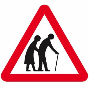 Frail pedestrians likely to cross road ahead sign