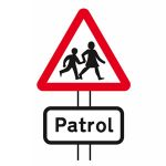 School crossing patrol ahead sign