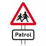 School crossing patrol ahead sign